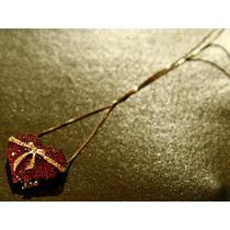 Lindo Colar Com Coração De Rubi Em Ouro 18 Quilate