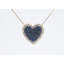 Lindo Pingente Coração Com Diamantes E Safiras Ouro 18k