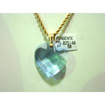 Cordão E Pingente Coração Cristal Joia Ouro18k Varias Cores