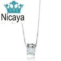 Nicaya Corrente + Pingente Ponto De Luz Ouro Branco 18k-750