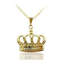 Colar / Corrente Com Pingente De Coroa Folheada A Ouro 18k