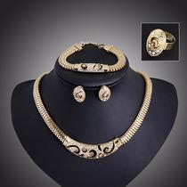 Combo Colar,brinco,pulseira,anel Importado Ouro18k Nigeriana