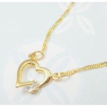 Semi Joia Rommanel Coração Feminino Cristal Branco Presente