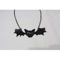 Colar Corrente Couro Gótico Dark Emo Gato Morcego Infinito