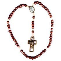 Terço Dos Homens Em Madeira Crucifixo Em Metal Ouro Velho