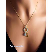 Colar Corações E Circulo Ouro Amarelo 18k/750 E Diamantes!