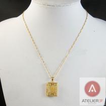 Cordão Corrente 2 Banhos Ouro 18k Com Pingente Porta Foto