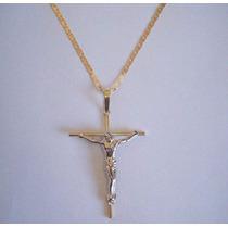 Corrente+pingnte Crucifixo Em Ouro 18k-750