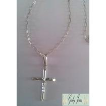Corrente/cordão Cartier 60cm + Pingente Crucifixo Prata 925