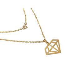 Colar Feminino Pingente Diamante Folheado Ouro 18k