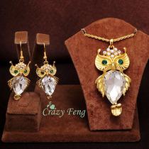 Conjunto De Colar E Brincos Com Pedras - Semi Jóias Cristal