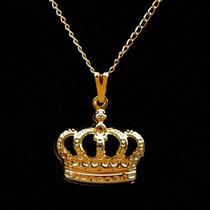 Colar Com Pingente De Coroa Folheado A Ouro 18k