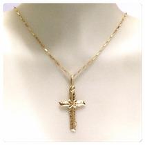 Corrente 60cm Pingente Crucifixo Joia Ouro 18k- 750 Maciço