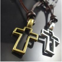 Colar Cordão Cruz Crucifixo Feminino Masculino Couro Legítim