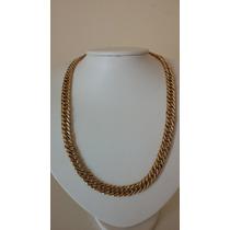 Cordão De Ouro 18k 750 Modelo Grumet Duplo Oco Grosso