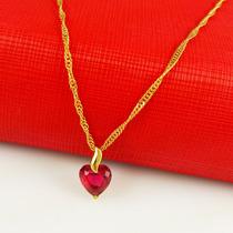 Corrente Cordão Colar Ouro 24k - Rubi Vermelho -promoçao