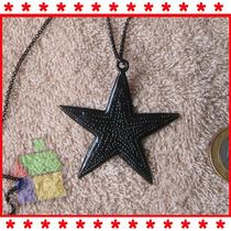 Colar Estrela Negra Fashion Black Star