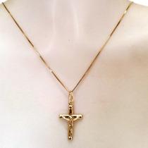 Oferta! Pingente Crucifixo Masculino Joia Ouro 18k Certifica