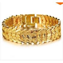 Bracelete De Luxo Real Banhado A Ouro 18k 17 Milímetros Top