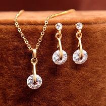 Conjunto Gold Filled Ouro Rose 18k Colar E Brincos Zircônia