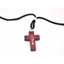 Crucifixo Px Chi Rho Madeira Com Cordao Colar Tau Terço