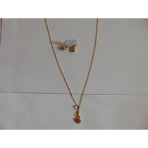 Conjunto Colar/brincos De Coração Folheados A Ouro Frete Gra