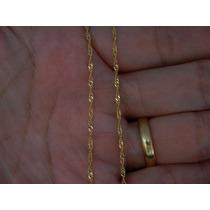 Corrente Colar Singapura Feminina 45cm Em Ouro 18k-750