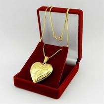 Corrente Feminina 50cm Relicario + Caixa Folheado Ouro Cr349