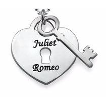 Corrente Colar Coração Com Chave Gravado Nome Em Prata 925