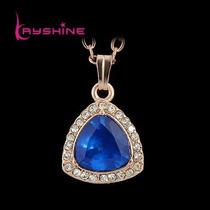 Lindo Colar Cordao Dourado Com Pedra Azul Luxo Strass