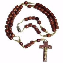 Terço Colar Madeira Pescoço Masculino Cruxifixo Atacado 5 Un
