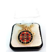 Corrente Folheada A Ouro Com Medalha De São Bento Dourada