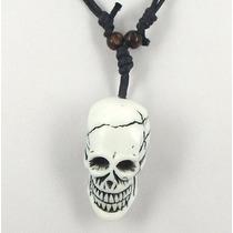 Colar Masculino Tribal Pingente Caveira Crânio Esqueleto