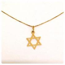 Pingente Estrela De Davi E Cordão Cartier Em Ouro 18k-750