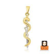 Colar Medicina - Folheado Em Ouro E Prata (garantia 1 Ano...
