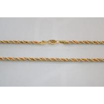 Swjoias Cordão Baiano Feminino Tricolor Corda 45cm Ouro 18k