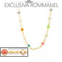 Rommanel Gargantilha Fio Pedras Coloridas E Perolas 530876