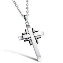 Colar Masculino Cordão Corrente + Crucifixo Em Aço Inox 316l