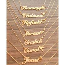Corrente Feminino Nome Personalizado Folheado A Ouro 24k