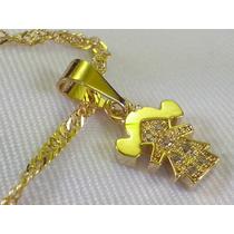 Cordao Folheado Ouro 18k Pingente Zirconia Novo Acessorio