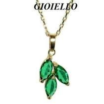 Pingente Corrente Folhado Ouro Cristal Cor Esmeralda 3016/2