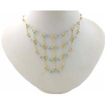 Gargantilha Em Ouro 18k Com Cristal Swarovski Azul J16840