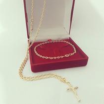 Cordão E Pulseira Cartier Com Banho De Ouro 18k