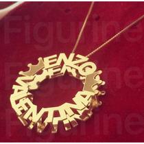 Colar Com Nomes Personalizados - Mandala Coroa Banhada Ouro