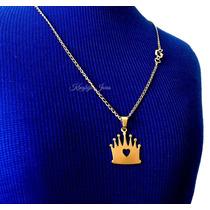 Pingente Coroa + Corrente Femininos Folheados Em Ouro 18k!!!