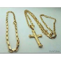 Cordão E Pulseira Cartier Com 3 Banhos De Ouro18k + Garantia