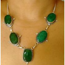 Colar Feminino Pedras Naturais Esmeraldas Enormes Prata 925
