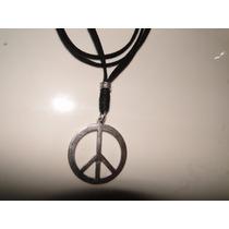 Cordão De Couro Com Simbolo Da Paz Em Aço Inox Promoçao