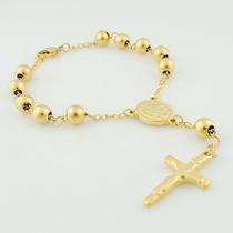 Pulseira Terço Ouro Colar Gold Hip Hop Jesus Cruz Gold Luxo