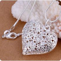 Colar Cordão Prata 925 Com Pingente Em Formato Coração